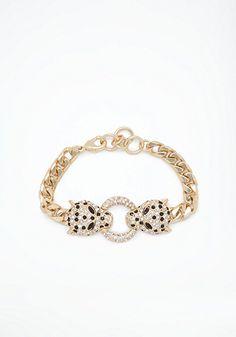 bebe Chainlink Tiger Bracelet
