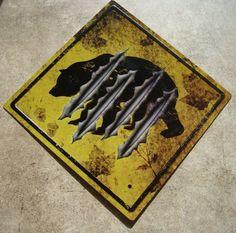 BLACK BEAR STREET CROSSING Caution Bear Claw Road Warning Sign Cabin Wall Decor #Lodge