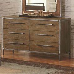 Coaster Arcadia 20380 Industrial 6 Drawer Dresser with Pewter-Coated Metal Accents in Weathered Acacia