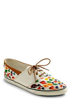 Vintage Right as Rainbow Flats. You wont have a worry or care in the world with these colorful, vintage flats in your closet.  #modcloth