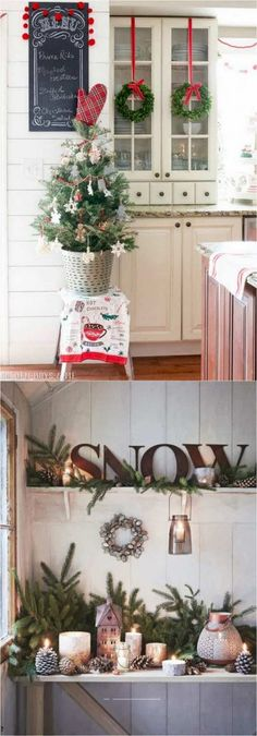 Farmhouse Christmas kitchen: 100 Best Christmas decorating ideas organized by rooms! How to create beautiful Christmas entryway living room kitchen bedroom staircase & more! A Piece of Rainbow Farmhouse Christmas Kitchen, Christmas Entryway, Diy Christmas Decorations For Home, Noel Christmas, Country Christmas, All Things Christmas, Winter Christmas, Christmas Wreaths, Christmas Crafts