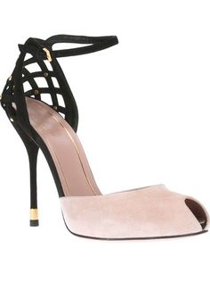 Gucci | nude and black leather pump with peep toe, ankle strap, latticed heel counter and very high stiletto heel with gold-tone trim | from FarFetch.com (no longer available as of March 2018)