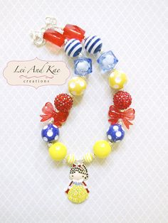Snow White Rhinestones Inspired Chunky Bubble Gum Necklace - Photo Prop Fashion Accessory