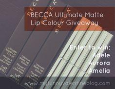 BECCA Ultimate Matte Lip Colour Giveaway: three Lipsticks, open internationally http://myfunnyvalentineblog.com/2014/03/becca-ultimate-matte-lip-colour-giveaway-three-lipsticks-open-internationally.html #MakeupCafe