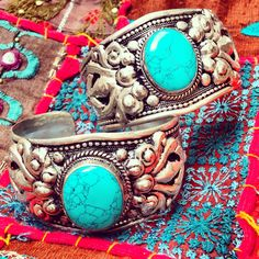 ॐ Stunning Tibetan Turquoise Cuffs- only £15 (AUS $27.08, €18.84, US $30.31) ॐ Check out the website for more at www.ohmboho.com ☮