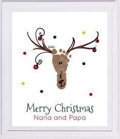 Custom Reindeer Footprint Keepsake. Made from your child's actual footprint! Choose custom message!
