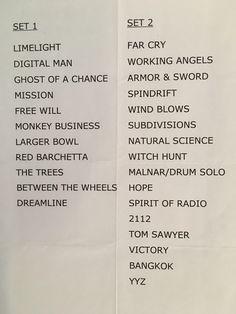 Rush 2008 setlist LA