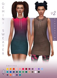 Hi Everyone! I come baring gifts after my vacay! ;) Here's part II of the Gemini Sweater Dress; a sleeveless version. I enabled the sweater for athletic outfits as well since it's darn cute with some sporty leggings underneath! Perfect for a jog in...