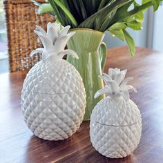 Pineapple small white ceramic cookie food jar with lid table ...