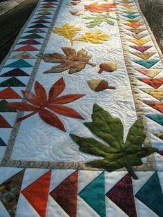 Falling leaves and acorns table runner
