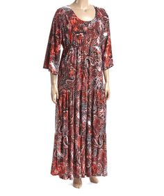 Another great find on #zulily! Red Paisley Empire-Waist Maxi Dress - Plus #zulilyfinds