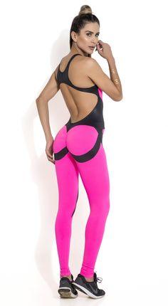 0818466d241b Brazilian Workout Jumpsuit - Scrunch Booty Girl Power Pink Workout Jumpsuit