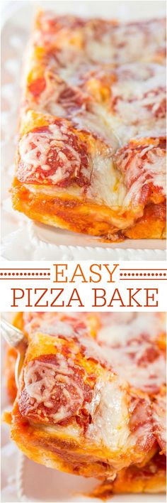 Easy Pizza Bake - Skip takeout and make your own warm and cheesy deep dish pizza bake! Fast, easy, and ready in 30 minutes! It's a keeper everyone loves!!