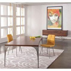 Grace - Concave Dining Table | 44w x 94long | Black Walnut or Flax wood finish | Chrome leg | $2530