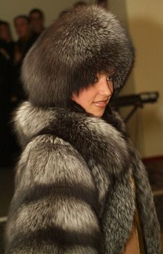 Silver fox coat and hat