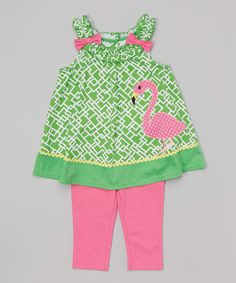 Another great find on #zulily! Green Flamingo Tunic & Capri Leggings - Infant, Toddler & Girls #zulilyfinds