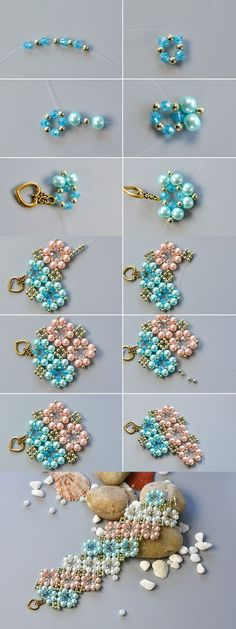 flower beaded bracelet, wanna it? The tutorial will be published by LC.Pandahall...