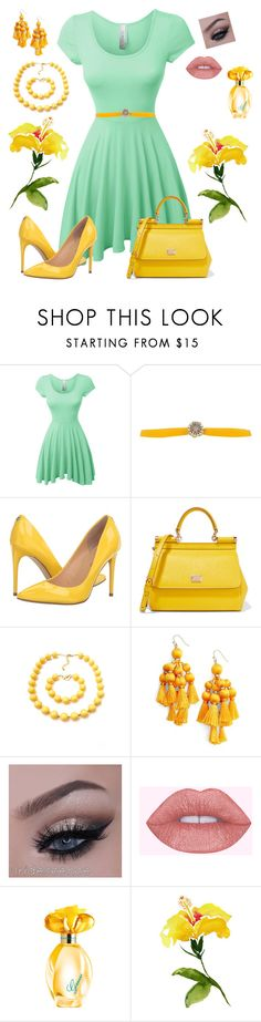 """""""Touches of Yellow"""" by melissa-markel ❤ liked on Polyvore featuring LE3NO, Orciani, Ivanka Trump, Dolce&Gabbana, Kate Spade and GUESS"""