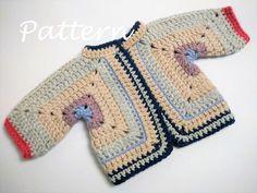 Neu : Baby Granny Square Jacket Pattern Crochet pattern by isWoolish, Crochet Baby Cardigan, Crochet Jacket, Cardigan Pattern, Jacket Pattern, Booties Crochet, Crochet Hats, Granny Square Sweater, Granny Square Crochet Pattern, Crochet Granny