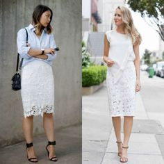 White pencil skirt outfits | White lace skirt outfit Lace Skirt Outfits, Lace Skirt And Blouse, White Lace Skirt, Pencil Skirt Outfits, Lace Outfit, Dress Skirt, Pencil Skirts, Denim Skirt, Pencil Dresses