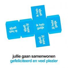 Kubus met samenwonen verhuiskaart van Ankepanke versturen bij Kaartwereld: 20% korting bij het maken van een gratis account.