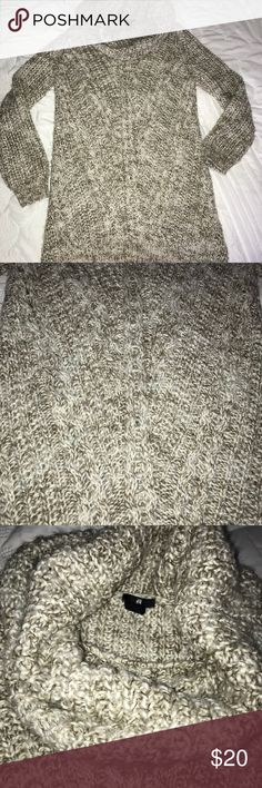LIKE NEW! H&M Soft Chunky Tan/Cream Sweater Dress Excellent condition! Cowl neck sweater/ sweater dress. SO SOFT AND COZY! It's a size small- depending on your body type can be worn as oversized sweater or sweater dress. H&M Sweaters Cowl & Turtlenecks