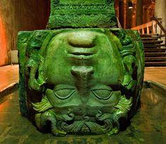 Yerebatan Saray,Istambul (Turkey). Medusa head as base of column or inverted capital.
