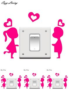 [Visit to Buy] Switch Panel Stickers 1 PC Room Window Wall Decoration Switch Vinyl Decal Sticker Cartoon Couples Wall Sticker Posters D24 #Advertisement