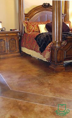 Vintage Umber Stain w/ diluted Black Stain on band. Clear wax. Photo Gallery | Kemiko Concrete Coatings and Floor Systems