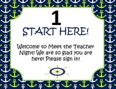 Nautical lime and navy meet the teacher stations and sign in sheets