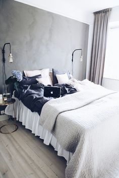 Hotel vibes in our bedroom love our new grey and pink sheets from do you like it? Dream Bedroom, Home Bedroom, Bedroom Decor, Bedrooms, Interior Design Tips, Home Interior, Room Goals, Dream Decor, Bedroom Inspo