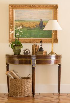 Artistic Integrity - Colorado Homes and Lifestyles - June-July 2014 Lovely Demi lune table, lamp, artwork and textured basket. Decor, Foyer Design, Traditional House, Home Furniture, Furniture Decor, Home Decor, House Interior, Elegant Interiors, Home Decor Furniture