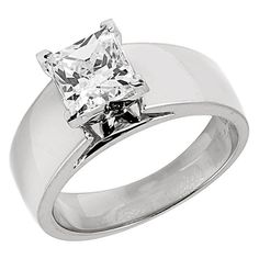 1/2 CTW Princess Cut Diamond Solitaire Engagement Ring in 14K White Gold via Etsy