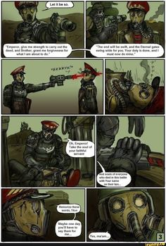 """Warhammer 40000 """"After the battle with Plague Marines"""" page 4 (from """"Commissar Raivel"""" comics by Gray Skull) (colored by Warhammer 40k Memes, Warhammer Art, Warhammer Fantasy, Warhammer 40000, Malon Zelda, Death Korps Of Krieg, Apocalypse Comics, Character Concept, Concept Art"""