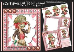 8X8 Mini Kit Rebel without a care  on Craftsuprint designed by Ceredwyn Macrae - A lovely mini kit to make and give to anyone this kit consists of three sheets,Sheei1, Front card and greetings . and small card Sheet 2, Decoupage, Sheet 3, Incert with Small card or Topper - Now available for download!