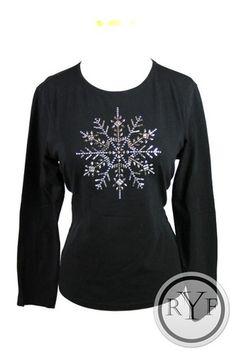 Holiday New Talbots Black Cotton Snowflake Shirt Top Blouse PM Petite Medium | eBay