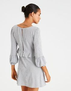 AE STRIPED PUFF CUFF RUFFLE V-NECK DRESS by  American Eagle Outfitters | Straight-up amazing.Straight-up amazing. Shop the AE STRIPED PUFF CUFF RUFFLE V-NECK DRESS and check out more at AE.com.