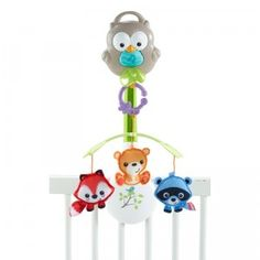 A crib mobile, stroller mobile, and take-along musical toy all in one.