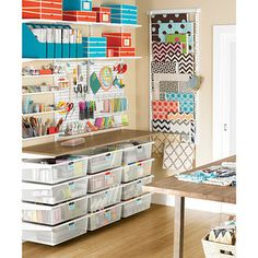 From stamping and sewing to gift wrapping and knitting, elfa creates an organized retreat for all your favorite hobbies. Adjustable Shelves provide ample storage space for jars, boxes and bins. Small items such as sewing notions, fabric samples and art supplies are neatly stored in Mesh Drawers. elfa utility Boards combined with our elfa utility Shelves, Boxes and Hooks creates a sophisticated, functional update on the classic pegboard system for storing tools and supplies. This solution ...