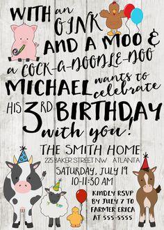 Farm Birthday Invitation Farm Birthday Party Tractor