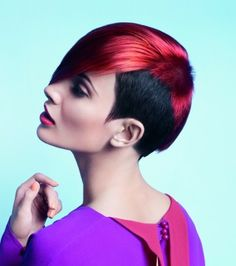 short red straight coloured multi-tonal  smooth hairstyles for women