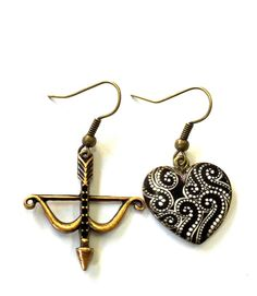 Bow and Arrow Black and White Heart Earrings by YogiYoAccessories Funky Earrings, Heart Earrings, Drop Earrings, Black And White Heart, Arrow, Bows, Trending Outfits, Unique Jewelry, Handmade Gifts