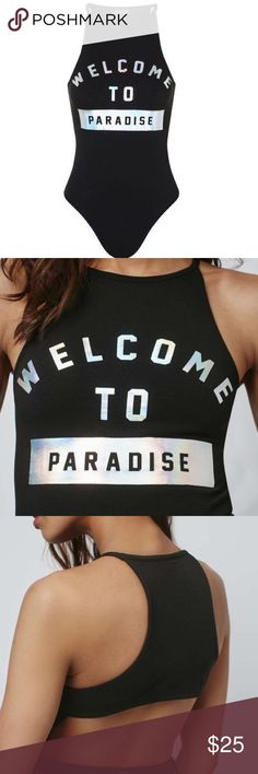 TOPSHOP PARADISE FOIL BODYSUIT This item is always out of stock at topshop! Never worn and super chic(:  The high neckline and subtle racer back cut provide a modern silhouette, while the cut-out back gives it an edgy vibe. It has a holographic 'Welcome To Paradise' quote which would look cute when the sun hits it. 95% Cotton, 5% Elastane. Machine wash! Topshop Swim One Pieces