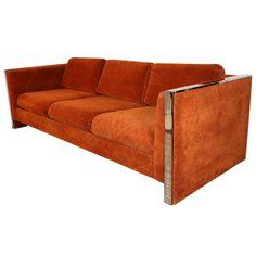 Orange 1970's Chrome Trim 3-Seat Cube Sofa by Selig Monroe