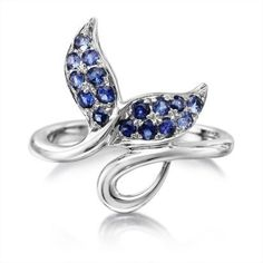 Sterling Silver Graduated Blue Sapphire Whale Tail Ring