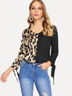 Shop Knot Cuff Cut-and-sew Leopard Satin Top online. SHEIN offers Knot Cuff Cut-and-sew Leopard Satin Top & more to fit your fashionable needs. Fashion News, Fashion Outfits, Womens Fashion, Satin Top, Fall Shirts, Types Of Sleeves, Stylish, How To Wear, Clothes