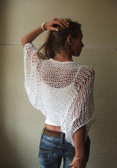 white shrug / loose knit / white Eco cotton loose by ileaiye