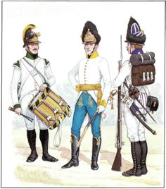 Austrian infantry. Left to right: Drummer, German Fusiliers; Officer, Hungarian Grenadiers;  German Grenadiers.