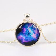 Vintage Purple Cosmic Nebula Pendant Glass Cabochon by Diymall, $4.85