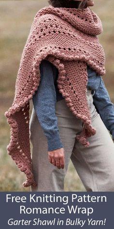 Free Knit Shawl Patterns, Knit Wrap Pattern, Web Patterns, Easy Patterns, Knitting Yarn, Free Knitting, Knitting Kits, Quick Knits, Garter Stitch